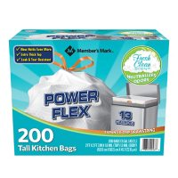 Deals on 200-Ct Members Mark Tall Kitchen Drawstring Trash Bags 13 Gallon