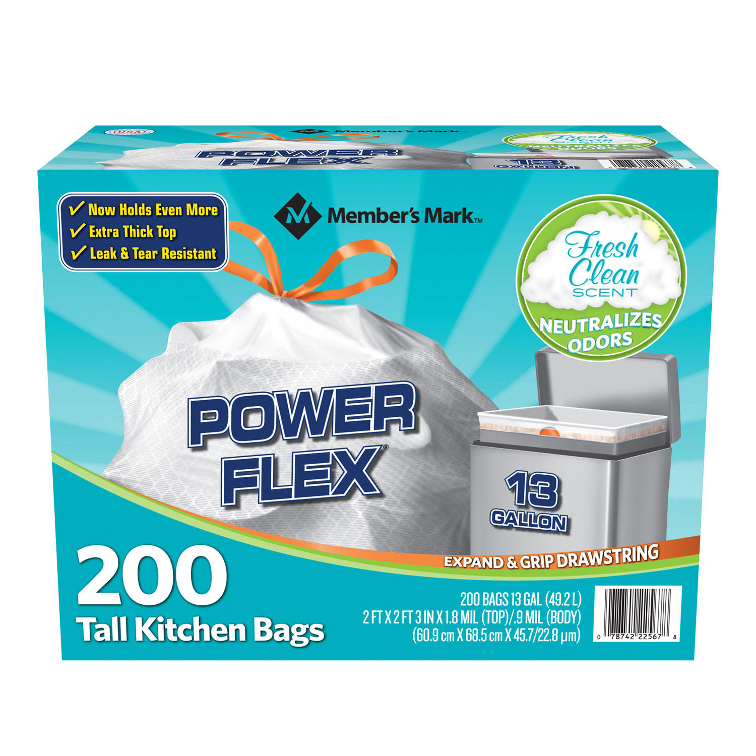Member's Mark Power Flex Tall Kitchen Drawstring Trash Bags (13 Gallon, 2 Rolls of 100 ct., 200 count total)