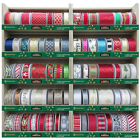 Member's Mark Premium Wired Holiday Ribbon (Assorted Colors