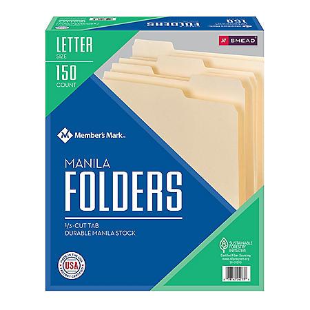 Member's Mark Smead File Folders, 1/3 Cut Assorted Tabs, Letter Size (150 ct.)