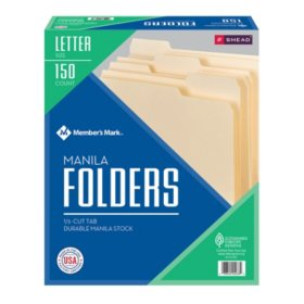 Member's Mark Smead File Folders, 1/3 Cut Assorted Tabs, Letter Size (150 ct.)