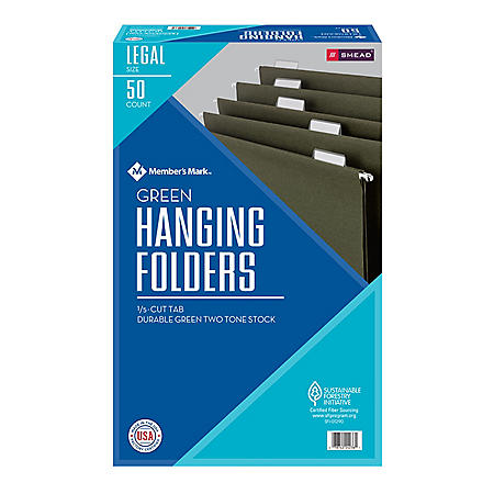Member's Mark Smead Hanging Folders with Tabs, 1/5 Cut Adjustable Tabs, Legal Size (50 ct.)