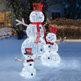 Member's Mark Crystal Beaded Twinkling Snowman Family, Set of 3