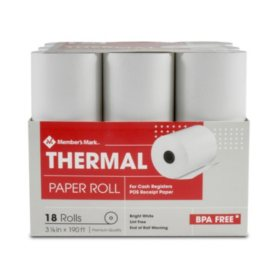 "Member's Mark Thermal Receipt Paper Rolls, 3 1/8"" X 190', 18 Rolls"