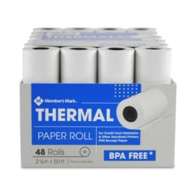 "Member's Mark Thermal Receipt Paper Rolls, 2 1/4"" X 50' , 48 Rolls"