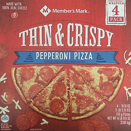 Member's Mark Thin and Crispy Pepperoni Pizza (18 oz., 4 pk.)