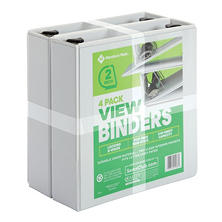 "Member's Mark 2"" D-Ring View Binder, White (4 pk.)"