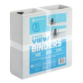 "Member's Mark 3"" D-Ring View Binder, White (2 pk.)"