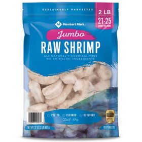 Member's Mark Raw Jumbo Shrimp, Frozen (2 lb. bag, 21 - 25 shrimp per pound)