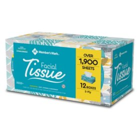 Member's Mark Soft & Strong Facial Tissues, 12 Flat Boxes, 160 2-Ply Tissues per Box (1920 Tissues Total)