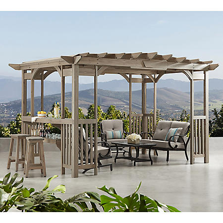 Charleston 14' x 10' Pergola with Sunshade