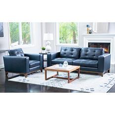 Member's Mark Reyes Top-Grain Leather Sofa and Armchair Set, Dark Teal