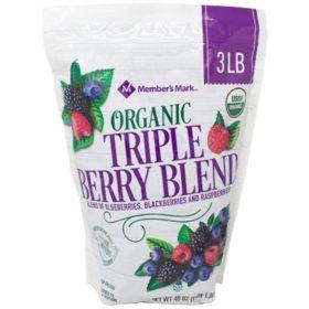 Member's Mark Organic Triple Berry Blend, Frozen (3 lbs.)