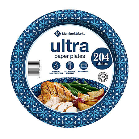 "Member's Mark Ultra 10"" Printed Paper Plates (204 ct.)"