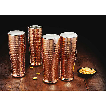 Member's Mark 20 oz .Double Walled Hammered Pilsner, Set of 4 (Assorted Finishes)