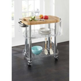 Member's Mark Bamboo Prep Table Kitchen Island | Grill Station