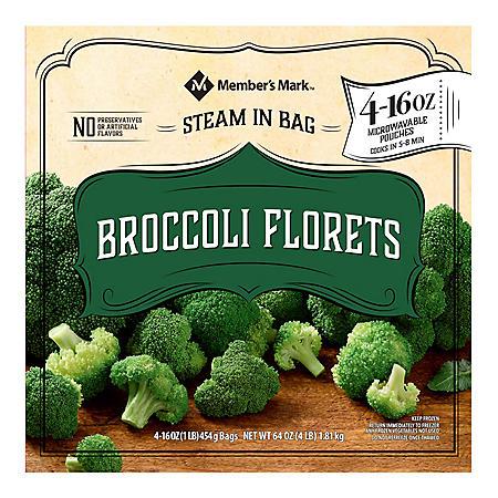 Member's Mark Broccoli Florets, Frozen (16 oz. pouches, 4 count)