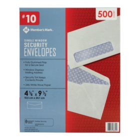 Member's Mark Security Envelope #10, Single Window (500 ct.)