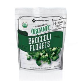 Member's Mark Organic Steamable Broccoli Florets, Frozen (16 oz. pouches, 4 ct.)