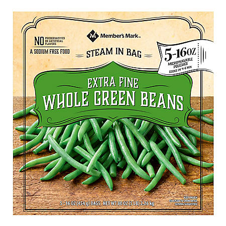 Member's Mark Extra Fine Whole Green Beans, Frozen (16 oz. bags, 5 count)