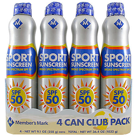 Member's Mark Sport SPF 50 Continuous Spray Sunscreen (9.1 oz., 4 pk.)