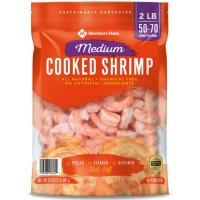 Member's Mark Cooked Medium Shrimp, Tail Off (2 lb. bag, 50-70 shrimp per pound)