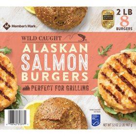 Member's Mark Wild Caught Alaskan Salmon Burgers, Frozen (2 lbs., 8 ct.)