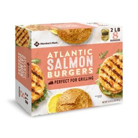 Member's Mark Wild Caught Alaskan Salmon Burgers, Frozen (2 lbs., 8 ct.)