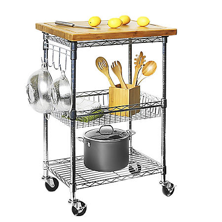 Member's Mark Bamboo Prep Table Kitchen Island / Utility Cart