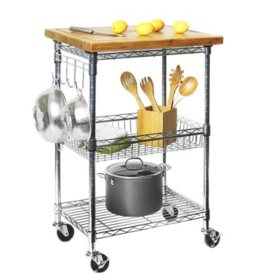 Member S Mark Bamboo Prep Table Kitchen Island Utility Cart