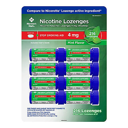Member's Mark 4 mg Nicotine Polacrilex Lozenges, Stop Smoking Aid, Mint Flavor (27 ct., 8pk.)