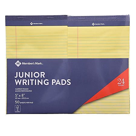 Members Mark Jr Writing Pad - Perforated Canary 24-Pack