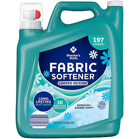 Member's Mark Liquid Fabric Softener, Botanical Breeze (170 oz., 197 loads)