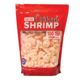 Cooked Salad Shrimp (2 lb. bag, 100/150 pieces per pound)
