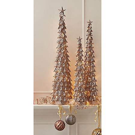 Member's Mark Gold Glitter Cone Tree (Set of 3)
