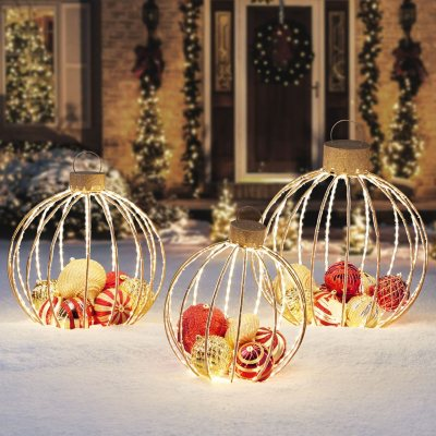 Member S Mark 3 Piece Pre Lit Twinkling Ornament Decor Red And Gold Sam S Club