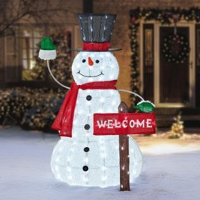 "Member's Mark 52"" Snowman with Welcome Sign"
