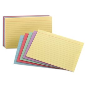 "Oxford Index Cards, Ruled, 3 x 5"", Rainbow Assortment, 100 Cards"