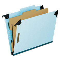 Pendaflex 2/5 Tab 4-Section Pressboard Hanging Classification Folder, Light Blue (Letter)