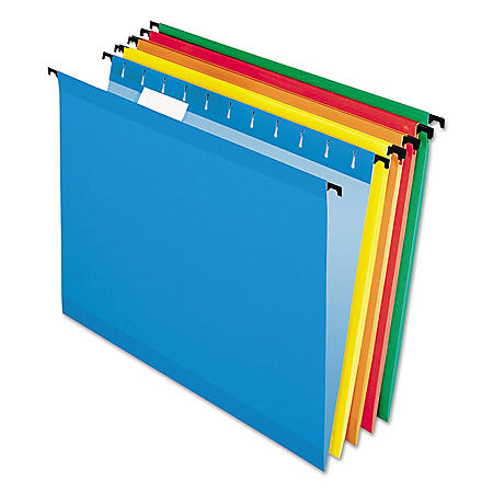 Pendaflex 1/5 Tab SureHook Hanging File Folders, Assorted Colors (Letter, 20 ct.)