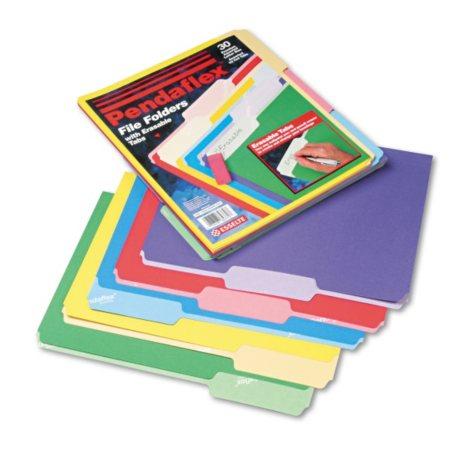 Pendaflex - Assorted File Folders w/Erasable Tabs, 1/3 Tab - 30 Count