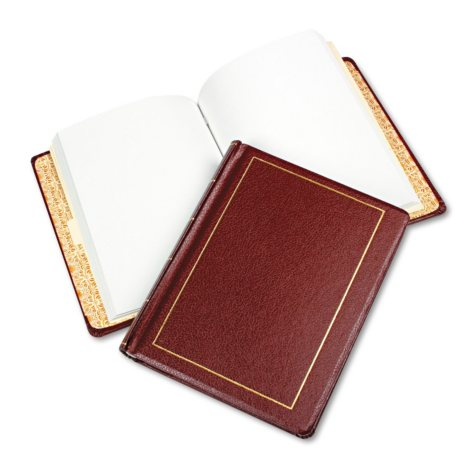 Wilson Jones - Looseleaf Minute Book, Red Leather-Like Cover, 125 Pages (250 Cap) -  8 1/2 x 11