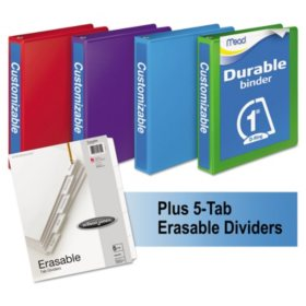 "Mead - D-Ring View Binders Plus Pack, 1"" Cap, 250 Sheets, Assorted Colors -  4/Carton"