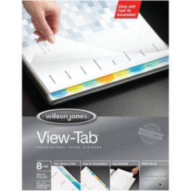 Wilson Jones? View-Tab Transparent Dividers, 8-Tab Set, Multicolor Square Tabs, 6 Pack