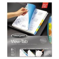 Wilson Jones - View-Tab Transparent Index Dividers, 8-Tab, Square, Letter, Assorted -  5 Sets/Box