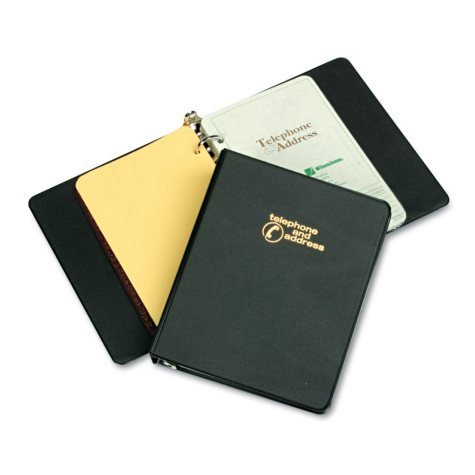 "Wilson Jones - Looseleaf Phone/Address Book, 1"" Capacity, 5-1/2 x 8-1/2 -  Black Vinyl"
