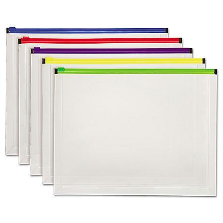 "Pendaflex® Poly Zip Envelope Open Side, Assorted Colors ( 10"" x 13"", 5pk.)"
