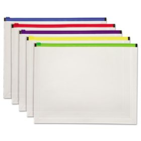 "Pendaflex® Poly Zip Envelope Open Side, Assorted Colors ( 10"" x 13"", 5pk.)"