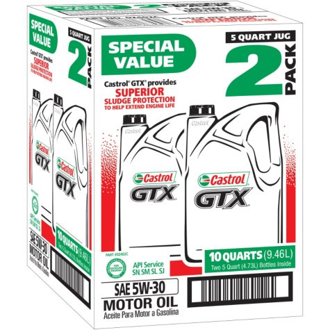 Castrol GTX 5W-30 Motor Oil (2-pack, 5 Quart Jugs)