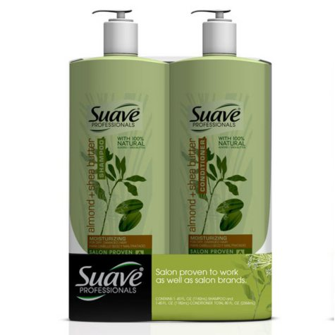 Suave Professionals Shampoo/Conditioner, Almond & Shea Butter - 40 oz . - 2 pk.